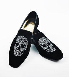 Skull Jewelry Velvet Loafer