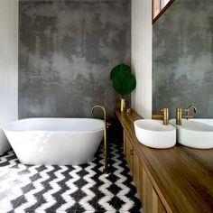 Simple, stylish bathroom.