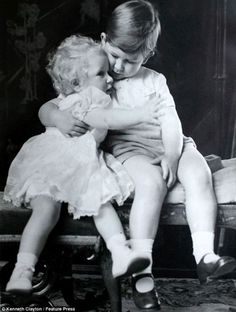 Prince Charles hugging his little sister, Princess Anne. 1952.