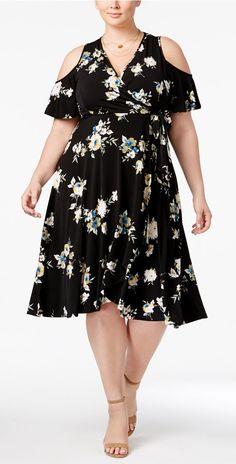 Plus Size Faux-Wrap Dress