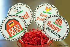 Barnyard Birthday 4 Inch Party Circles by KellysCottageShoppe, $3.50