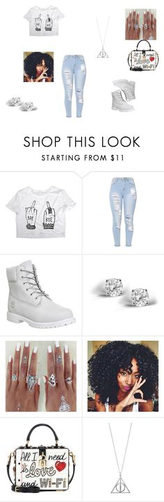 """boy byeeeeee"" by queenzee on Polyvore featuring Timberland, Glitzy Rocks and Dolce&Gabbana"