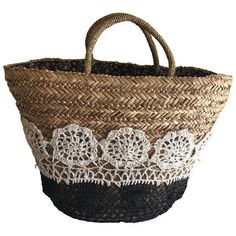 Large Boho Lined Jute Market Basket (€41) ❤ liked on Polyvore featuring home, home decor, small item storage, baskets, boho tote, flower tote, black and white home decor, woven basket and floral home decor