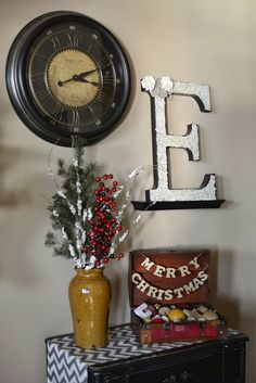 home decor (Christmas) || clock + large letter + vase/florals + decorative suitcase + table runner + chest