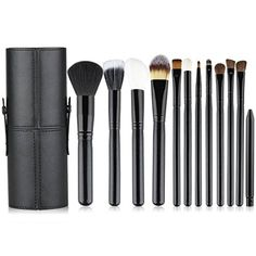 KLAREN Professional 12 PCS Cosmetic Makeup Brush Set With Leather Cup Holder Black * Click on the image for additional details. (Note:Amazon affiliate link)