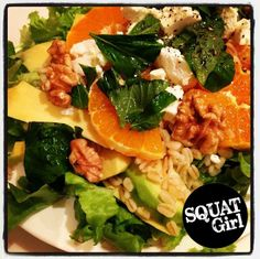 a salad with fresh orange, walnut & wheat #healthy #food #fitness #squat #salad  visit squatgirl.com for more Cobb Salad, Squats, Healthy Food, Nutrition, Fresh, Orange, Fitness, Health Foods, Gymnastics