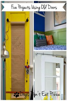 If you have an old door, I've got a project. Five projects using old doors - from Dogs Don't Eat Pizza