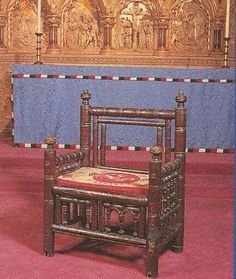 Today's research picture, via Elizabeth Chadwick. Taken from the Hereford Cathedral booklet - King Stephen's chair - a century chair, Made for a visit of King Stephen to Hereford Cathedral in Medieval Furniture, European Furniture, Medieval World, Medieval Art, Elizabeth Chadwick, Hereford Cathedral, Historical Artifacts, Herefordshire, Recommended Reading