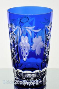 Ajka Marsala Cobalt Blue Cut to Clear Crystal Highball Water Collins Glass | eBay