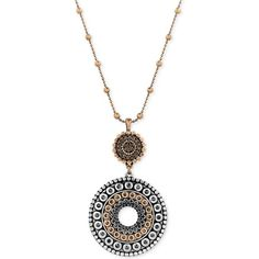 Lucky Brand Two-Toned Decorated Disc Pendant Necklace ($49) ❤ liked on Polyvore featuring jewelry, necklaces, ttone, two tone jewelry, lucky brand necklace, two tone necklace, two tone pendant necklace and mixed metal necklace