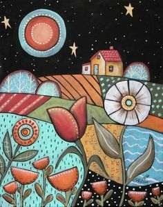 Good Night 11x14 Landscape ORIGINAL Canvas PAINTING Abstract FOLK ART Karla G...new painting for sale, ready to hang... by MarAleEsc