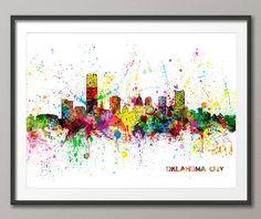 Oklahoma City Skyline Cityscape,Art Print (2478) by artPause on Etsy