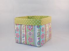 Floral and Paisley Multi Colored Fabric Basket For Storage Or Gift Giving