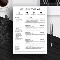 4 Page Professional Resume Template | A4 And US Letter | CV Template | Cover  Letter | For Microsoft Word | Modern Resume Design | Mac / Pc