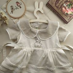 Rustic Linen Dress With Cotton Apron for Baby Girls, Bunny Embroidery | Etsy | MaryLinen
