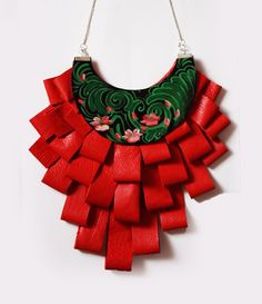 Statement Genuine Leather Red Corai Neckalce by EtnoWareStore, $82.00