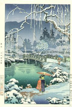 Japanese Art by KAWASE HASUI => Winter, Snow Landscape