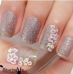 nice Sparkles with 3D nail art....