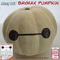 Have fun making your own easy DIY Baymax Pumpkin this Halloween from Disney's Big Hero 6 Movie! #BigHero6 #MeetBaymax