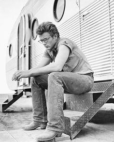 """wehadfacesthen: """"James Dean photographed during the filming of Giant in Texas, 1955 """""""