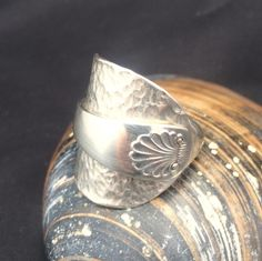 Silver Shell Ring - Hammered Ring - Crafted from an Art Nouveau Teaspoon - Hallmarked SpoonRing - Sheffield 1932 - Handmade by Adrift Crafts by AdriftCrafts on Etsy