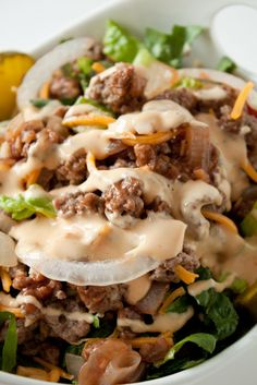 Cheeseburger Salad With Big Mac Dressing Recipe...a delicious twist to the traditional  side salad!