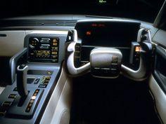 Mazda MX-03 (1987) - Szíj helyett itt már beérték egy Knight Rider szerű megoldással a Mazdánál, az MX-03 beltere igazi kiborg vágyálom, annyi villogó digitális kütyüvel, hogy még a Robotzsaru nyála is elcseppen.