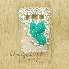 Bluish Green Butterfly Bling Phone cases for HTC EVO 4G