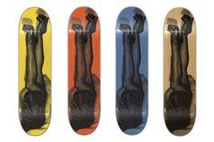 HUF Legs Up Skateboard Deck: HUF shows off a new collection of skateboard decks. Featuring a photograph of a scantily clad Skateboard Design, Skateboard Decks, Weird Tattoos, Skate Decks, Scantily Clad, Huf, Legs, Bones
