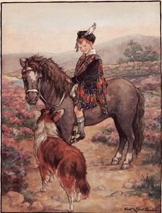 A Lassie on Her Pony with a Lassie Collie Dog  by BellaMercato
