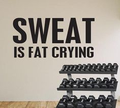 Wall Decal Fitness Motivation Gym Sweat is Fat by Stickitthere
