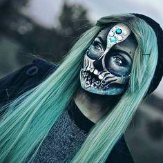 Black and Green Rhinestone Skeleton Skull Makeup