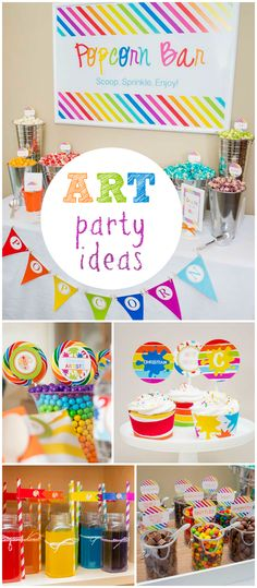 You've got to see this colorful rainbow art party! So fun! See more party planning ideas at CatchMyParty.com!