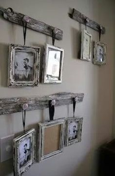 Best Country Decor Ideas - Antique Drawer Pull Picture Frame Hangers - Rustic Farmhouse Decor Tutorials and Easy Vintage Shabby Chic Home Decor for Kitchen Living Room and Bathroom - Creative Country Crafts Rustic Wall Art and Accessories to Make and Sell Picture Frame Hangers, Pallet Picture Frames, Shabby Chic Picture Frames, Pallet Picture Display, Country Picture Frames, Cool Picture Frames, Reclaimed Wood Picture Frames, Pallet Frames, Unique Picture Frames