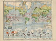 Large Antique World Map Vegetation Areas Crops Marine by carambas, $38.00