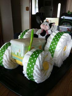 Tier Tractor Truck Baby Shower Diaper Cake