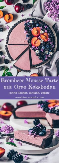Blackberry Mousse Tarte - without baking, vegan - Bianca Zapatka .- Blackberry Mousse Tarte – without baking, vegan Cake Recipes, Vegan Recipes, Snack Recipes, Dessert Recipes, Apple Recipes, Dessert Blog, Gateaux Vegan, Easy Smoothie Recipes, Vegan Cake