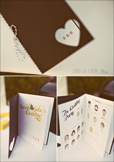 wedding programs with little pics of the wedding party - love this!