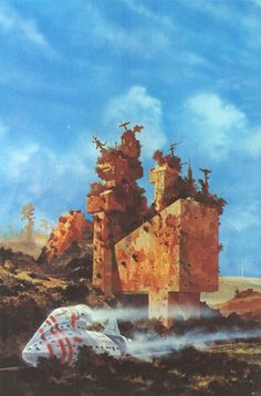 """Chris Foss's cover for """"City Of Illusions"""" by Ursula K. Le Guin"""