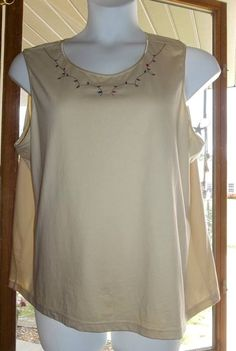 DENIM AND CO PLUS SIZE 2X BEIGE FLORAL EMBROIDERED COTTON TANK TOP BLOUSE #DenimandCompany #TankCami #CasualCareer