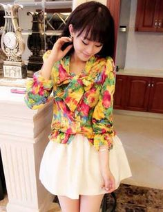 Women Sweet Floral Print Bowknot Trim Chiffon Blouse - Item 694343 at Eastclothes.com
