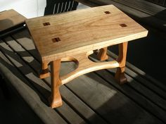 one mahogany, one cherry, both wedged tenon through the tops. cherry stool has pinned tenons between the legs and stretcher. mahogany stool is all through wedged tenons. original stool was. Diy Furniture Plans, Fine Furniture, Wood Furniture, Woodworking Bed, Custom Woodworking, Woodworking Chisels, Woodworking Magazine, Woodworking Classes, Japanese Joinery