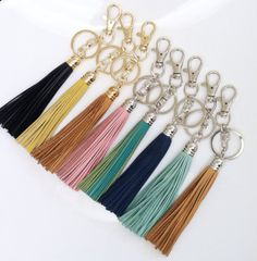 Leather Keychains or Bag Charms Tassels  For by LoveAndreasCloset, $17.00