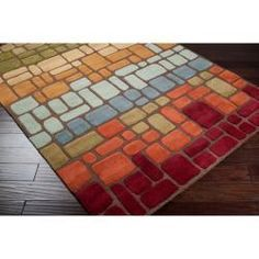 @Overstock - Hand tufted in wool, this rug features a contemporary design with a plush pile. Colors of brown, red, sage, green, beige, gold, pale blue, blue, and rust accent this area rug.http://www.overstock.com/Home-Garden/Hand-tufted-Gorleston-Wool-Rug-8-x-11/6373194/product.html?CID=214117 $490.44