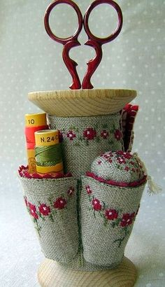 scissor holder wooden spool with pin cushion. Embroidery Work.