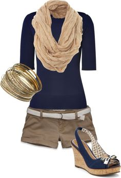 Casual outfit idea for summer. This style is the best I've had^_^ - Miss Pool Casual outfit idea for summer. This style is the best I've had^_^ - Miss Pool Casual outfit idea for summer. This style is the best I've had^_^ Mode Outfits, Casual Outfits, Fashion Outfits, Casual Shorts, 40s Outfits, Khaki Capris, Khaki Shorts Outfit, Fashion Ideas, Khaki Skirt