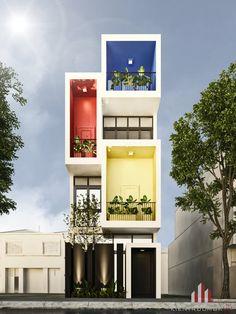 Narrow House Designs, Modern Small House Design, Modern Villa Design, Modern Exterior House Designs, 3 Storey House Design, Duplex House Design, House Front Design, Colour Architecture, Modern Architecture House