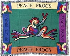 Peace Frogs Retro Afghan