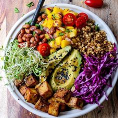 This gf vegan buddha bowl is incredible fried buckwheat groats tofu mango salsa avocado beans greens and a spectacular dragon dressing drizzle Whole Food Recipes, Cooking Recipes, Water Recipes, Beans Recipes, Cooking Fish, Onion Recipes, Cooking Chef, Cooking School, Thai Recipes