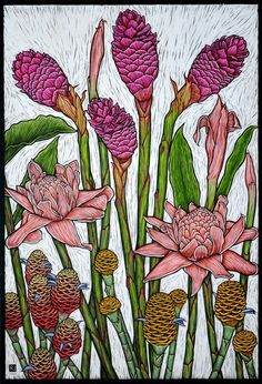 ropical Gingers 79 x 54 cm  Edition of 50 Hand coloured linocut on handmade Japanese paper by Rachel Newling